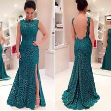 Women Sexy Party Long Lace Green Noble Evening Party Floor Length Dress | UK |