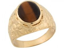 10k or 14k Yellow Gold Synthetic Tigers Eye Handsome Nugget Designer Mens Ring