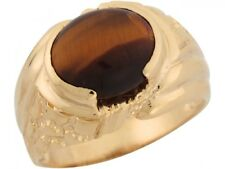 10k or 14k Yellow Gold Synthetic Tigers Eye Attracive Majestic Mens Ring