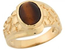 10k or 14k Yellow Gold Synthetic Tigers Eye Stylish Nugget Band Mens Ring