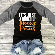 New Halloween Hocus Pocus Letter Printed Women's Casual T-Shirt Top Blouse