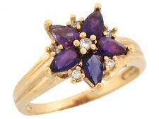 10k or 14k Yellow Gold Simulated Amethyst and White CZ Flower Design Ladies Ring