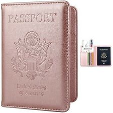 Rose Gold Travel Passport Case Credit Card Holder PU Leather Wallet Case Cover