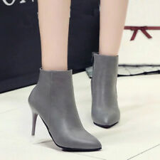 Womens Sexy Stilettos High Heels Zipper Pointed Toe Ankle Boots Dress Shoes Size