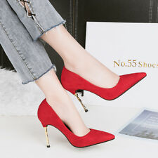 Suede High Heels Stilettos Point Toe Solid Fashion Shallow Ladies OL Pumps Shoes