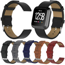 Genuine Leather Watch Band Wrist Strap Bracelet Classic Buckle for Fitbit Versa