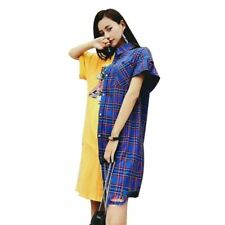 Women Printed Plaid Style Short Sleeve Casual Large Size Long T-shirt Dress