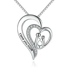 Pendant Necklace Mother's Day Gift I Love You Mom Heart Jewelry For Mothers NEW
