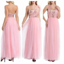 Women's Strapless Shiny Sequins Mesh Bridesmaid Formal Dress Evening Prom Gown