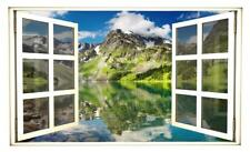 Mountain Lake 2 Fake Window 3D Wall Sticker Decal Instant Mural Window Scape