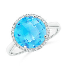 4.9ct Round Natural Swiss Blue Topaz Cocktail Ring with Diamond Halo