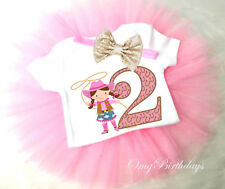 Cowgirl Pink Cow Lasso 2nd Second Girl Tutu Headband Shirt Outfit Custom Age SZ