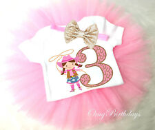 Cowgirl Pink Cow Lasso 3rd Third Girl Tutu Headband Shirt Outfit Custom Age SZ