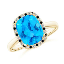 3.7ct Cushion Swiss Blue Topaz Cocktail Ring with Diamond Halo 14k Yellow Gold