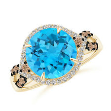 4.4ct Swiss Blue Topaz Cocktail Ring with Brown Diamond Accents 14k Yellow Gold