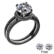 Sterling Silver 14k White Gold Round Diamond cut Engagement Ring Wedding Set fh