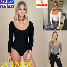 UK Womens Ladies Long Sleeve Backless Bodysuit Plain Stretch Bodycon Leotard Top