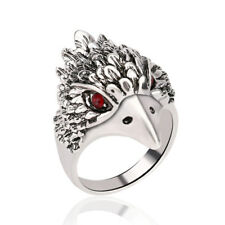 Vintage Ring Eagle Head Alloy Plated Retro Silver Inlay Red Crystal Ancient Ring