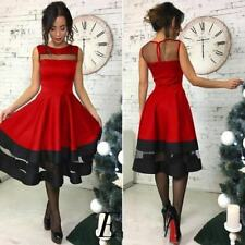 Women Black Red Color Sleeveless Patchwork O Neck A Line Backless Dress A333