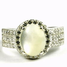 Mother of Pearl, 925 Sterling Silver Halo Ring, SR400-Handmade