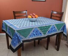 Cotton Floral Geometric Print Tablecloth Square 70 x 70 inches Blue Purple Tan