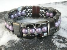 Men Women 100% Magnetic Hematite Bracelet Anklet Necklace Pearlized Purple 3 row