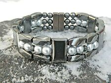 Men Women 100% Magnetic Hematite Bracelet Anklet Necklace Pearlized Silver 3 row