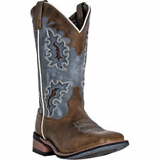Laredo Womens Brown Leather Isla Western 11in Embroidered Cowboy Boots