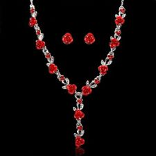 New Women Rose Flower Crystal Necklace Earrings Wedding Bridal Jewelry Set Gift