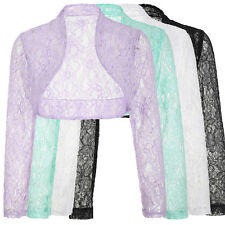 Womens Long Sleeve Ladies Cropped Cardigan Shrug Bolero Lace Tops Plus Size New