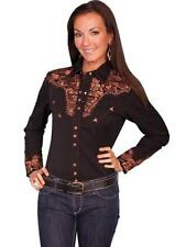 Scully Western Womens Shirt Long Sleeve Snap Floral Embroidery Black PL-654