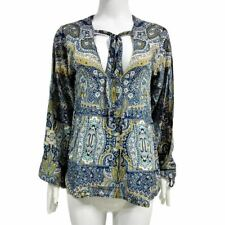 Floral Print Casual V Neck Loose Cotton Long Sleeve Blouse For Women NEW276