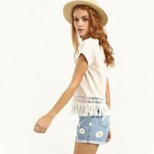 Casual Shirt Cute Summer Style Women Top White Crew Neck Short Sleeve Blouse