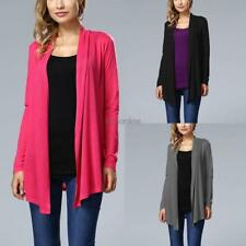 Women Casual Front Open Stitch Long Sleeve Irregular Hem Solid Cardigan EO56