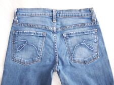 Womens Express Low Rise Flare Bottom Blue Denim Jeans 27 Factory Distressed EUC