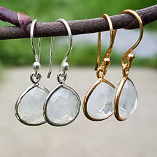 925 Sterling Silver 18K Gold Vermeil Faceted Moonstone Drop Dangle Earrings Gift