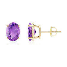 1.4 Ctw Solitaire Oval Natural Amethyst Stud Earrings Screw Back 14K Yellow Gold