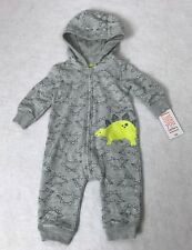 NWT Carters Grey Dinosaur Footed Sleeper Pajamas Rompers Infant Toddler boys