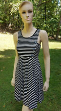 TRULY ME FIT & FLARE Striped Black & White Tween Girls Dress 14 16