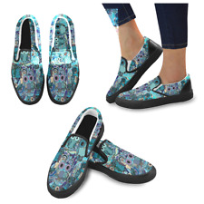 Owl Pattern Fashion Women's Unusual Loafers Slip-on Flats Canvas Shoes