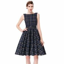 Women Blue Color O Neck Plaid Print Sleeveless Pleated Party Dress N730