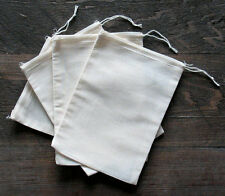 Muslin Bags - Cotton - White Hem and White Drawstrings - 3 Sizes of bags