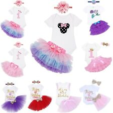 Baby Girls 1st Birthday Romper Princess Tutu Skirt Dress Headband Outfits Set