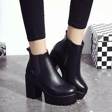 New 2017 Fashion Women Boots Square Heel Platforms Leather Thigh High Pump Boots
