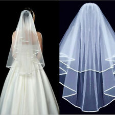 Elegant 2T White or Beige Wedding Bridal Elbow Satin Edge Veil With Comb Beauty