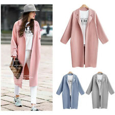 Women Winter Outwear Wool Lapel Long Slim Trench Parka Coat Jacket Overcoat AU