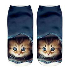 Unisex Cat Fashion Socks Cotton 3D Printed Animals Low Cut Ankle Socks 1 Pair