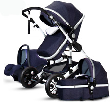 Luxury Baby Stroller 3 in 1 High view Pram foldable pushchair bassinet Car Seat