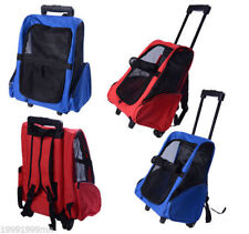 Travel Pet Luggage Box Cat Backpack Carrier Paw Hut Dog w/Rolling Wheels Stand