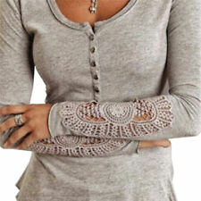 Sexy Women Sexy Long Sleeve Shirt Casual Lace Blouse Loose Cotton Top T Shirt d